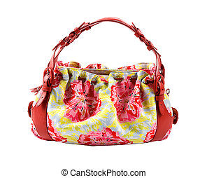 Flowery buckled red leather tote isolated on white...
