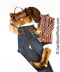 Cowgirl fashion composition on white background