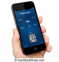 isolated woman hand holding the phone touch with a mobile wallet and plane ticket