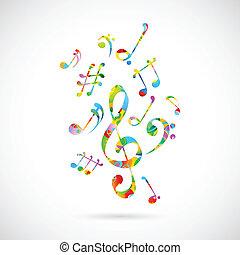 coloridos, musical, nota, fundo