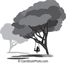 Lonely child on a swings in the park. Vector illustration