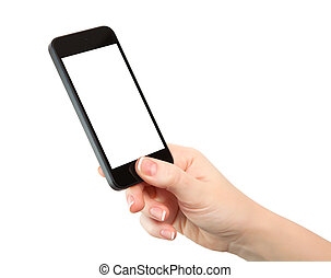 isolated woman hand holding the phone