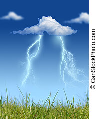 Lightning - Lightning over blue sky background