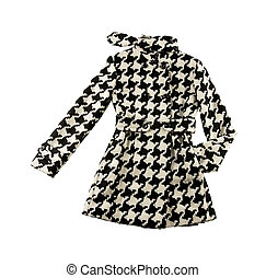 Black and white houndstooth check woolen cute coat isolated...