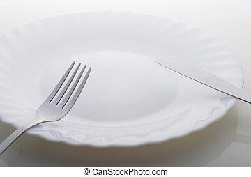 prato, sobre, tabela, branca, vazio