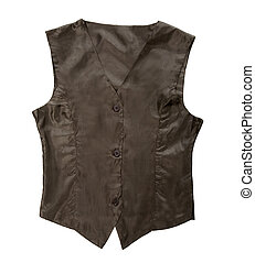 Black simple vest isolated on white background Clipping path...
