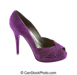 Purple suede peep toe stiletto isolated on white background...