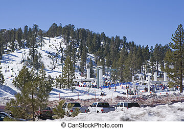 California Ski Resort with sunny skys during Winter