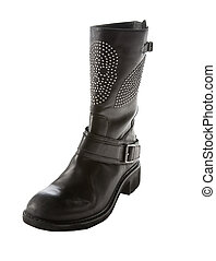 Skull studded black leather biker strapped boot isolated on...