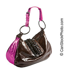 Metallized patent leather tote with frilly beaded carved...