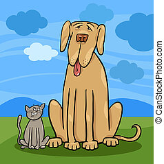 small cat and big dog cartoon illustration - Cartoon...
