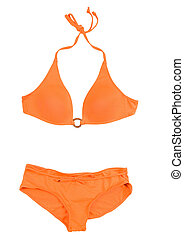 Orange halter bikini isolated on white background Clipping...