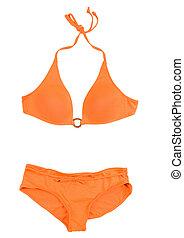 Orange halter bikini isolated on white background. Clipping...