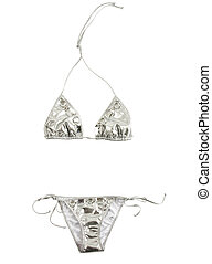 Silver bikini with big carved crystals isolated on white...