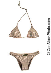 Tiny circles metalized belted bikini isolated on white...