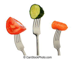 Vegetable on fork.