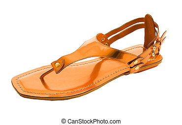 Orange metallized flip flop patent leather sandal isolated...