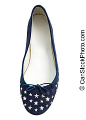 Silver stars blue lace flat ballerinas isolated on white...