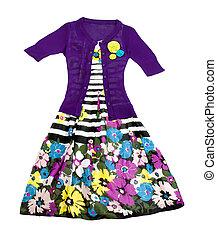 flores, rayas, Vestido, tejer, pulóver