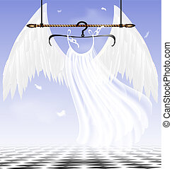 white wings of an angel - in abstract sky-room is a hanger...