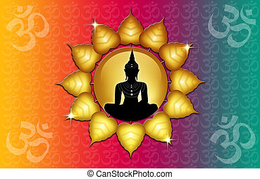 Om symbol and Buddha - illustration of Buddha statue with Om...