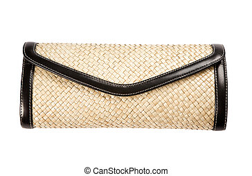 Raffia handbag isolated on white background. Clipping path...