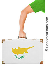 The Cypriot flag on a suitcase. Isolated on white.