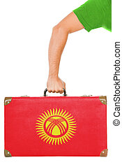 The Kyrgyz Flag on a suitcase. Isolated on white.