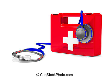 Stethoscope and first aid on white background. Isolated 3D...
