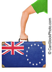 The Cook Islands flag on a suitcase. Isolated on white.