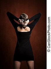 Pretty Woman in a Black Dress - Pretty Woman in a Stretchy...
