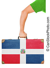 The Dominican Republic flag on a suitcase Isolated on white...