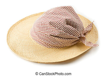 Raffia picture hat with striped bandana isolated on white...