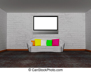 minimalist living room with white couch with colored cushion
