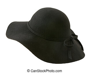 Black floppy felt hat with a lace