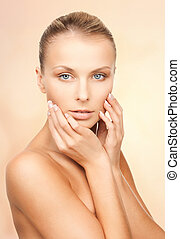 beautiful woman - bright closeup portrait picture of...