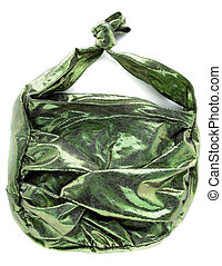 Green crackle iridescent metallized leather purse isolated...