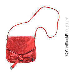 Red crackle metallized leather purse isolated on white...