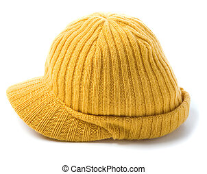 Yellow knit cap beanie isolated on white background