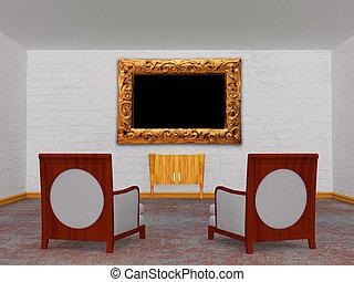 最簡單派藝術家, 控制台, 椅子, 二, 豪華, 木制, 內部