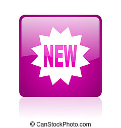 new violet square web glossy icon