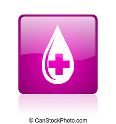 blood violet square web glossy icon