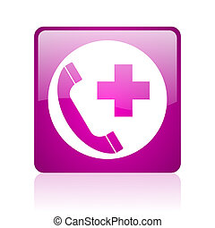 emergency call violet square web glossy icon