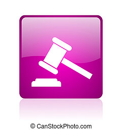 law violet square web glossy icon