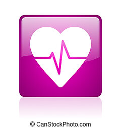 cardiogram violet square web glossy icon