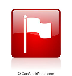 flag red square web glossy icon