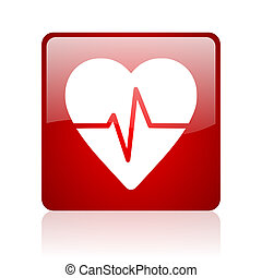 cardiogram red square web glossy icon