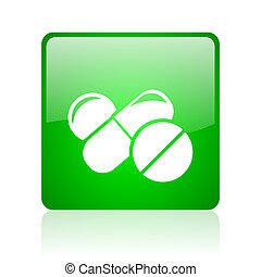 pills green square web glossy icon
