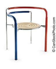 diseño, tricolor, metal, silla
