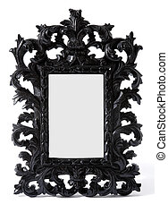 Baroque black painted carved wood mirror frame isolated on...